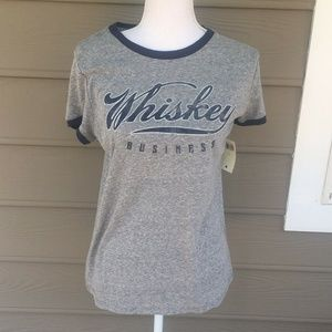 Lucky Brand Gray Whiskey Business Graphic Tee L